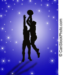 spelaren, basketboll, illustration