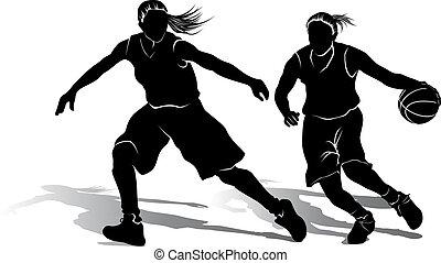 spelaren, flicka, basketboll, silhuett