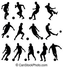 spelaren, silhouettes, fotboll