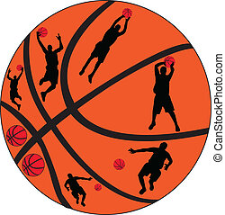 spelaren, vektor, -, basketboll