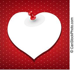 spelden, hart, merk papier op, rood