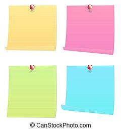 spelden, informatietechnologie, merk papier op, post, rood