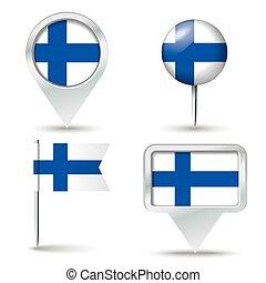 spelden, kaart, vlag, finland