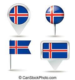 spelden, kaart, vlag, ijsland