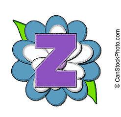 spelden, z, blauwe , alfabet, bloem
