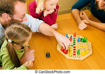 spelen, spelend, gezin