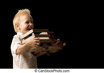 spelend, auto., jongen, weinig; niet zo(veel), speelbal