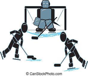 spelend, figuren, hockeystok