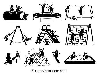 spelend, figuren, icons., kinderen, speelplaats, actief, stok