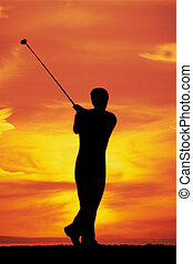 spelend golf, op, dageraad