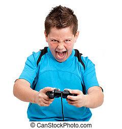 spelend, houding, jongen, innemend, console