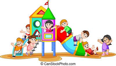 spelend, hun, speelplaats, gezichten, kinderen, vriend, ...