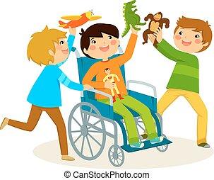 spelend, in, een, wheelchair