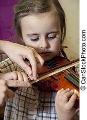 spelend, leren, kind, viool, preschool