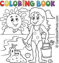 spelend, meisje, kleuren, 1, strand, boek