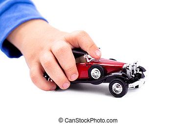 spelend, met, auto