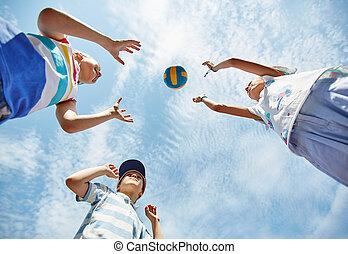 spelend, met, bal