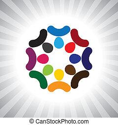 spelend, ook, plezier, werknemer, werkmannen , bedrijf, brainstorming(meeting)-, mensen, vergadering, hebben, vector, kinderen, &, verscheidenheid, denken tank, graphic., groenteblik, unie, geitjes, eenheid, stafmedewerkers, illustratie, weergeven, dit