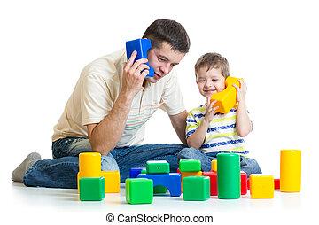 spelend, rol, vader, samen, kind, zoon