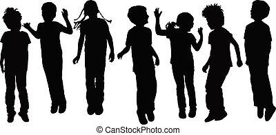 spelend, silhouette, kinderen