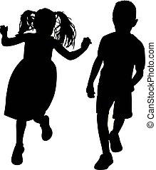 spelend, silhouette, twee kinderen
