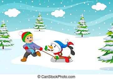 spelend, sneeuw, jongen, rijden, warme, arreslee, jas