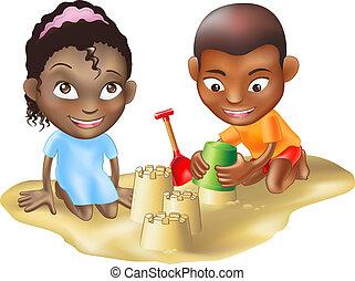 spelend, strand, twee kinderen