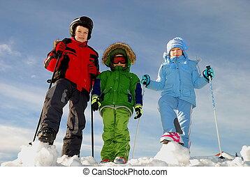 spelend, winter, kinderen