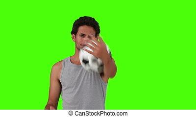 spelende bal, man, sportkleding, voetbal, mooi