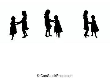 spelende kinderen, silhouette