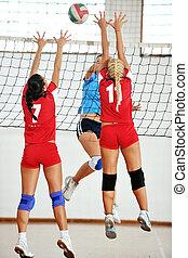 spelende volleyball, meiden, binnen, spel