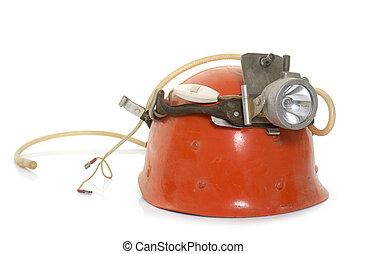 speleologist helmet in studio - speleologist helmet in front...