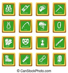 Speleology equipment icons set green square isolated on...