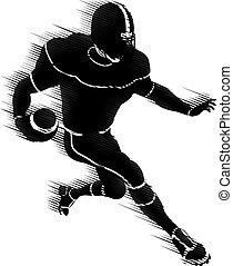 speler, amerikaan, concept, silhouette, voetbal