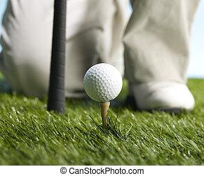 speler, bal, slaan, het bereiden, golf