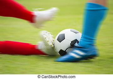 speler, bal, voetbal, frappant