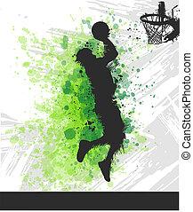 speler, basketbal, schilderij, illustratie, digitale
