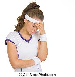 speler, betrokken, tennis, vrouwlijk, verticaal