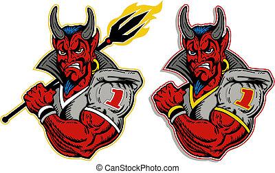 speler, duivel, voetbal