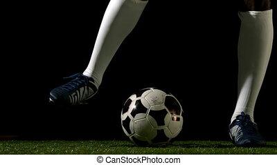speler, football bal, schoppen