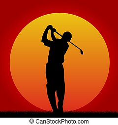 speler, golf, ondergaande zon