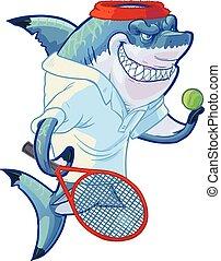 speler, haai, tennis, spotprent, betekenen