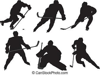 speler, hockey, ijs