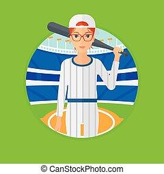 speler, honkbal, bat.