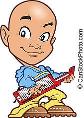 speler, kaal, toetsenbord