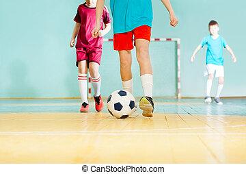 speler, lucifer, gedurende, bal, frappant, voetbal