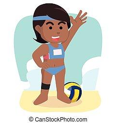 speler, meisje, volleybal, afrikaan