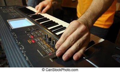 speler, onbekend, studio, spelend, toetsenbord