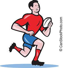 speler, rennende , bal, rugby, spotprent