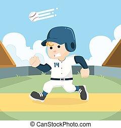speler, rennende , base, honkbal
